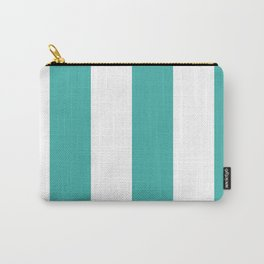 Wide Vertical Stripes - White and Verdigris Carry-All Pouch