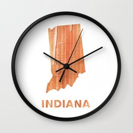 Indiana map outline Orange Brown Striped watercolor Wall Clock
