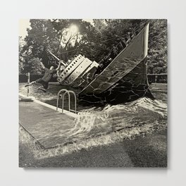 Sinking into the Pool Black and White Metal Print
