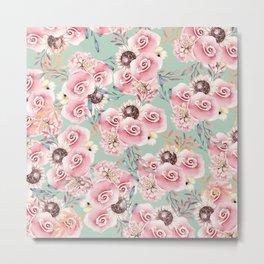 Vintage green pastel pink watercolor botanical roses Metal Print