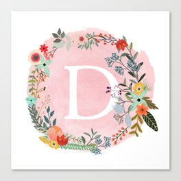 Flower Wreath with Personalized Monogram Initial Letter D on Pink Watercolor Paper Texture Artwork Canvas Print