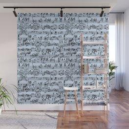Hand Written Sheet Music // Light Blue Wall Mural