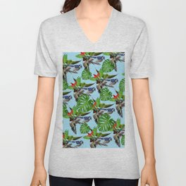 Tropical Exotic Bird Leaf Blue Green Print Unisex V-Neck