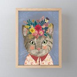 Grey cat with flower crown Framed Mini Art Print