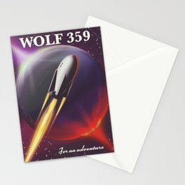 Wolf 359 Vintage science fiction space travel Stationery Cards