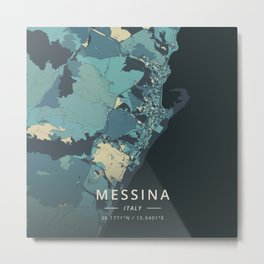 Messina, Italy - Cream Blue Metal Print