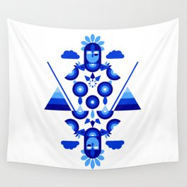 Libra in Blue Wall Tapestry