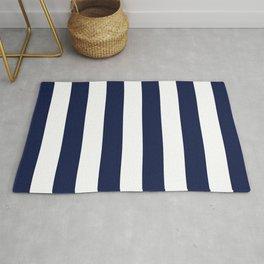 Navy Blue Bold Vertical Stripe Line Minimal Stripes Lines Rug
