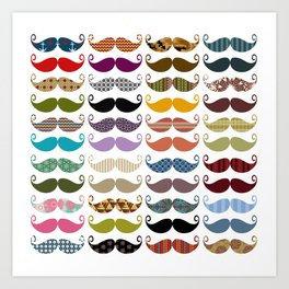 Colorful Mustaches Art Print