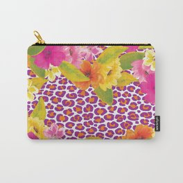 Floral Leopard  Carry-All Pouch