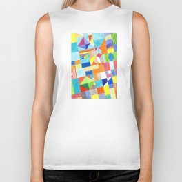 Playful Colorful Architectural Pattern Biker Tank