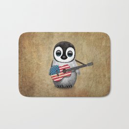 Baby Penguin Playing American Flag Acoustic Guitar Bath Mat
