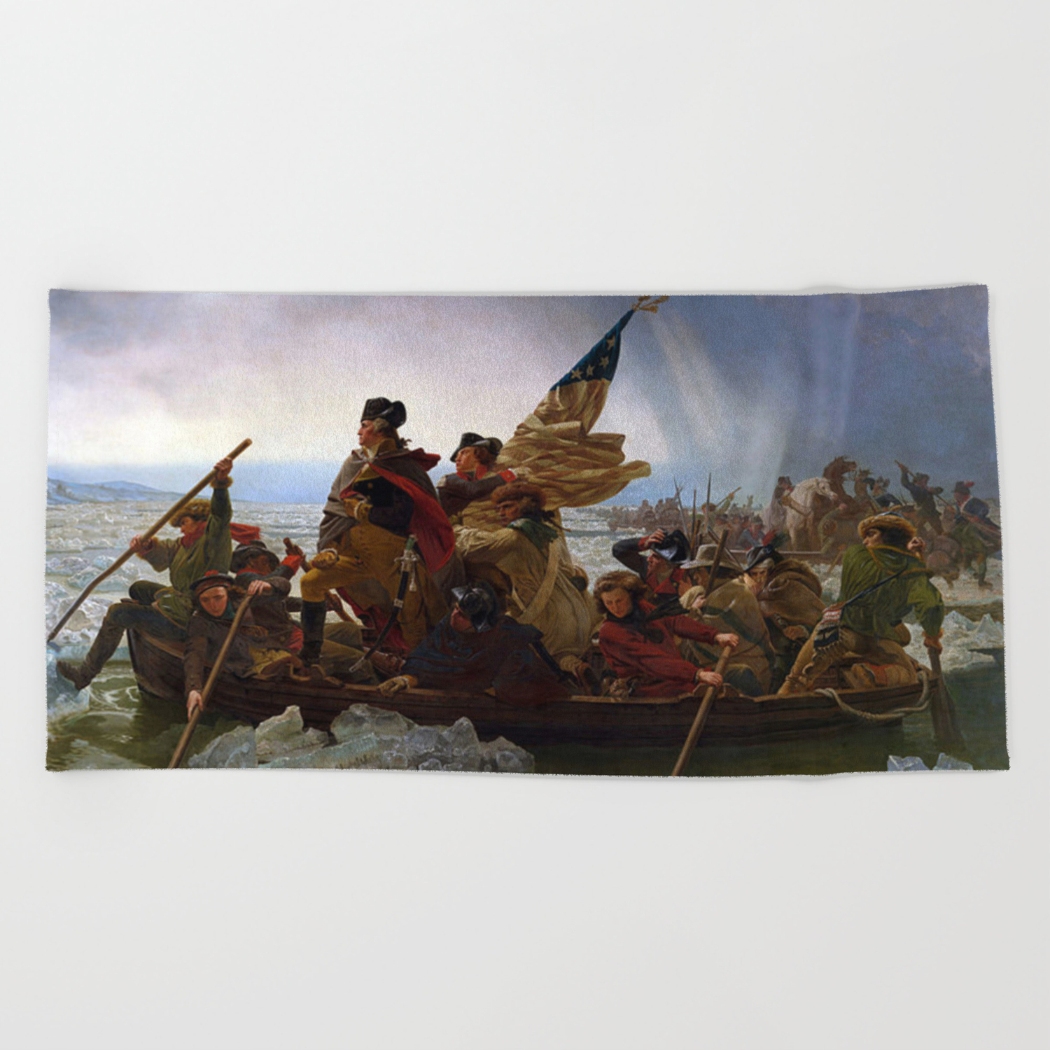 George Washington Crossing Of The Delaware River Painting Beach