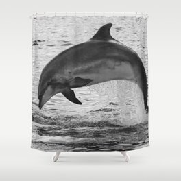 Jumping wild bottlenose dolphin black and white Shower Curtain