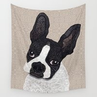 boston terrier Wall Tapestries featuring Boston Terrier 2015 by ArtLovePassion