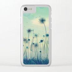 Whimsical Indigo Dandelion Flower Garden Clear iPhone Case