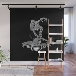 0111-DJA Abstract Nude Black & White Light Zebra Pattern Slender Woman Beautiful Body Flow Wall Mural