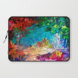 WELCOME TO UTOPIA Bold Rainbow Multicolor Abstract Painting Forest Nature Whimsical Fantasy Fine Art Laptop Sleeve