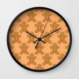 Brown Gingerbread Men Wall Clock