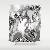 digimon Shower Curtains featuring + Digimon - Dorumon + by Xyeziaeos