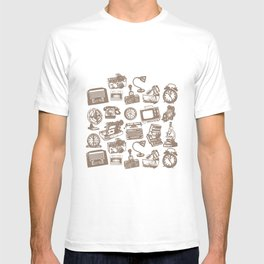 blue vintage pattern T-shirt