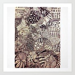zentangle circles Art Print