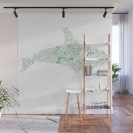 Green Monstera Whale Wall Mural