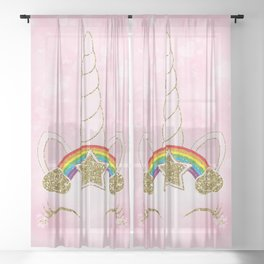 Pink Hearts & Rainbow Unicorn Horn Sheer Curtain