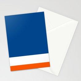 UNEVEN BRILLIANT BLUE DAZZLING WHITE COSMIC ORANGE STRIPED Stationery Cards