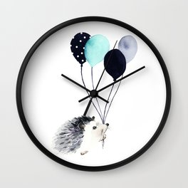Hedgehog With Balloons Wall Clock