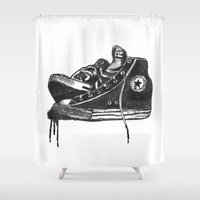 sneakers Shower Curtains featuring sneakers by Cardula