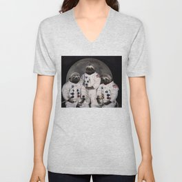 Astronaut Sloths on the way to the moon Unisex V-Neck