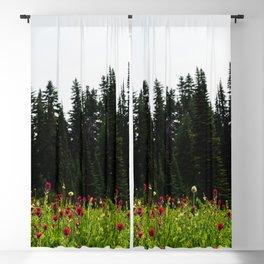 Mount Rainier Wildflower Adventure IV - Pacific Northwest Mountain Forest Wanderlust Blackout Curtain