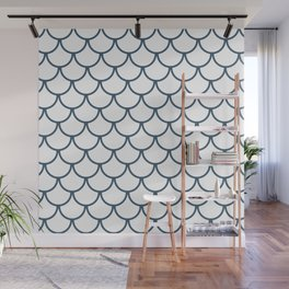 Dusky Blue Fish Scales Pattern Wall Mural