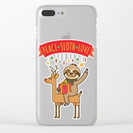 Peace Sloth Love Clear iPhone Case