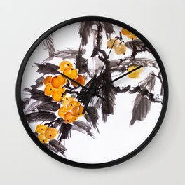 Japanese Loquat sumie ink painting Wall Clock