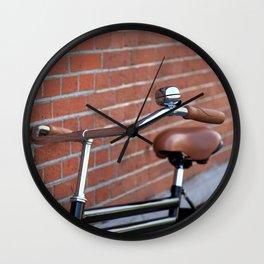 Classic bike and brick wall Wall Clock