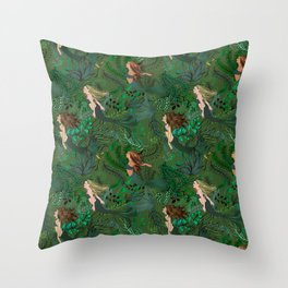 Mermaids in an Underwater Garden Throw Pillow