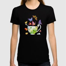 Butterfly Tea Womens Fitted Tee Black MEDIUM