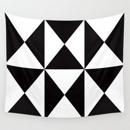 Geometric Pattern #45 (black white triangles) Wall Tapestry