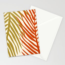 Palm leaves close up in orange golden green and beige color palette Stationery Cards