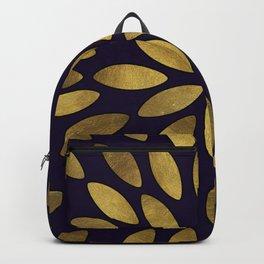 Classic Golden Flower Leaves Pattern Backpack