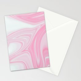 Pink & White Liquid Marble Stationery Cards
