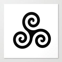 White Triskele Design Canvas Print