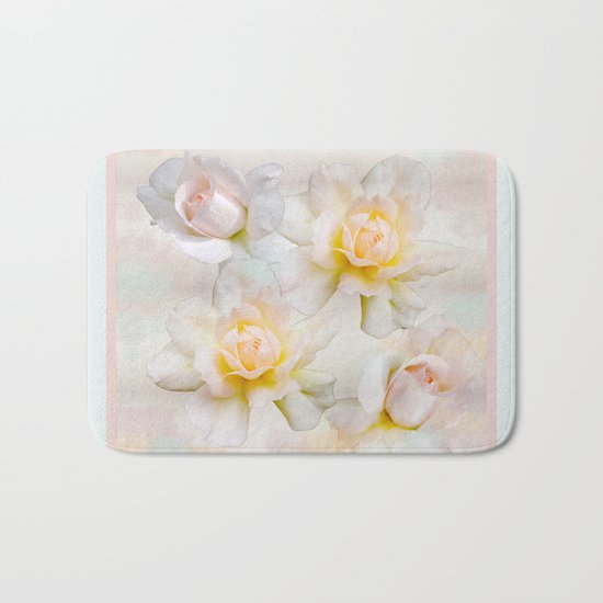 Romantic pastel roses on a paper textured background Bath Mat