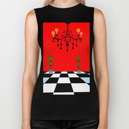 A Chandler with Topiary with Red wall paper Biker Tank