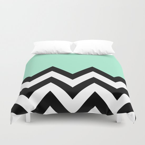 Mint Green Colorblock Chevron Duvet Cover By Natalie Sales