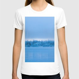Mysterious fog over snowy lake Bohinj, Slovenia T-shirt