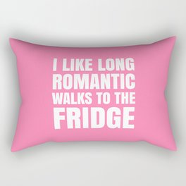 I LIKE LONG ROMANTIC WALKS TO THE FRIDGE (Pink) Rectangular Pillow