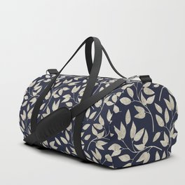 Abstract Silver leaves Navy Blue Inspiring Words Typography Duffle Bag